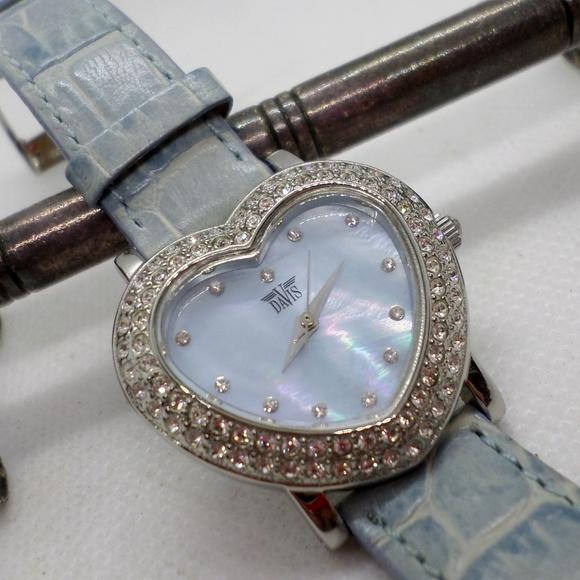 Davis Paris Accessories - Davis Paris Heart Shape Watch M.O.P. And Crystal